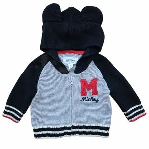 Gap Baby Mickey Mouse Zip Up Hooded Cardigan